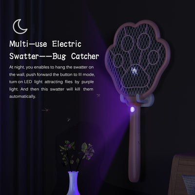 Electric Fly Swatter 2 in 1 Rechargeable Mosquito Racket Insect Bug Zapper Fly Killer Cat-paw Shape 3 Layer Electric 3800V