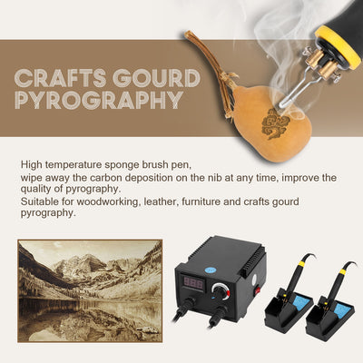 100W 0-650℃ Adjustable Multifunctional Digital Display Electric Gourd Wooden Pyrography Machine with 20pcs Heating Pen Heads