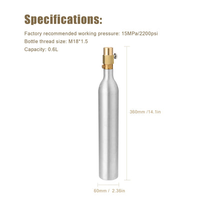 Sodawater 0.6L Bottle Cylinder High Compressed Bottle with Refill Soda Adapter CGA320 Thread - Mirage Novelty World