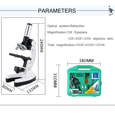 digital Microscope Set with Accessories Kit 100X-1200X Kids Students Microscope Biology Science Scientific Lab mini Magnifier - Mirage Novelty World