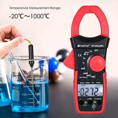 HoldPeak Digital Clamp Multimeter Auto Range BT Clamp Meter AC/DC Current Amperage Voltage Resistance Electrical Tester Meter - Mirage Novelty World
