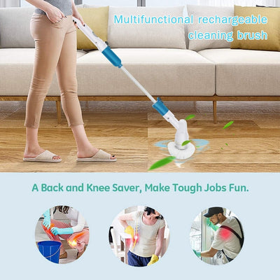 Electric Spin Scrubber Cordless Rechargeable Bathroom Scrubber Cleaning Brush with Replaceable Brush Heads Extension Handle - Mirage Novelty World