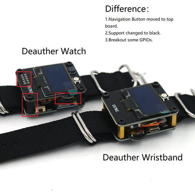 DSTIKE Deauther Watch V1 Wearable WiFi ESP8266 Programmable Development Board with Watchband to Test WiFi Networks
