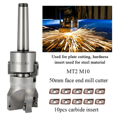 Metal Accuracy CNC Machine Tool MT2-FMB22 M10 Cutter Face Mill Arbor 10PCS Carbide Insets Turning Tool MT2 Tools - Mirage Novelty World