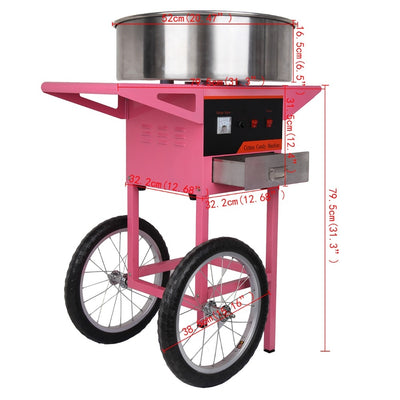 20inch Electric Cotton Candy Machine Commercial DIY Electric Candy Floss Machine with Cart - Mirage Novelty World