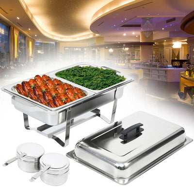 9L Stainless Steel Chafing Dish Buffet Stoves Caterers Food Warmer Tray Serving Warming Container 1pcs