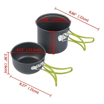 Ultralight Camping Cookware Utensils Outdoor Tableware Set Hiking Picnic Backpacking Camping Pot Pan 1-2persons