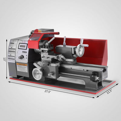 Metalwork Mini Lathe Woodworking Lathe 600W All Metal Gears Digital Control CNC Bench Lathe