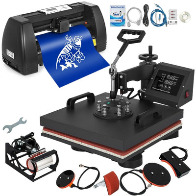 "Vinyl Cutter Plotter 14"" Pattern Swing Away Usb Port 5in1 T-Shirt Heat Press 15""x15"""