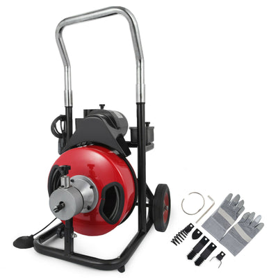 "Commercial 50ftx1/2"" Electric Drain Auger Drain Cleaner Machine Snake w/ Cutter"