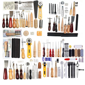 Professional 61 Pcs Leather Craft Tools Kit Hand Sewing Stitching Punch Carving Work Saddle Home Leathercraft Accessories