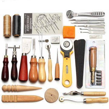 37 Pcs/Set Professional Leather Craft Tools Kit Hand Sewing Stitching Punch Carving Work Saddle Groover DIY Making Tool