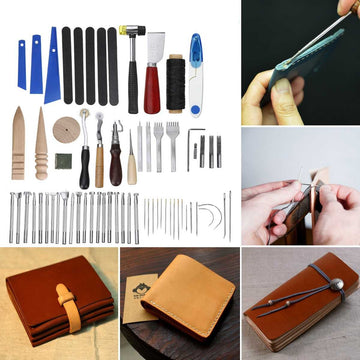 66 Pcs/Set Professional Leather Craft Tools Kit Hand Sewing Stitching Punch Carving Work Saddle Set Accessories DIY Making Tool