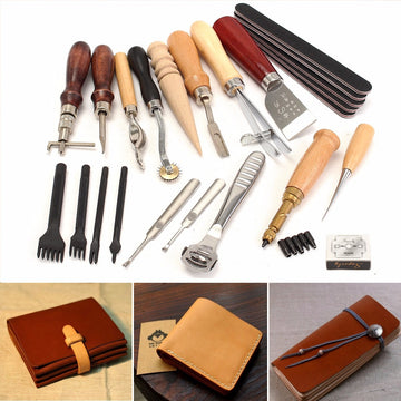 20 Pcs Professional Leather Craft Tools Kit Hand Sewing Stitching Punch Carving Work Saddle Set Accessories DIY Making Tool Set
