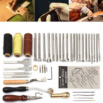 48 Pcs/Set Professional Leather Craft Tools Kit Hand Sewing Stitching Punch Carving Work Saddle Set Accessories DIY Making Tool