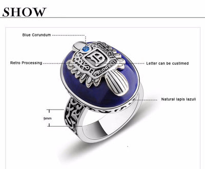 Real 925 Sterling Silver The Vampire Diaries Rings Men's With Gem Natural Stone Fine Jewelry - Mirage Novelty World