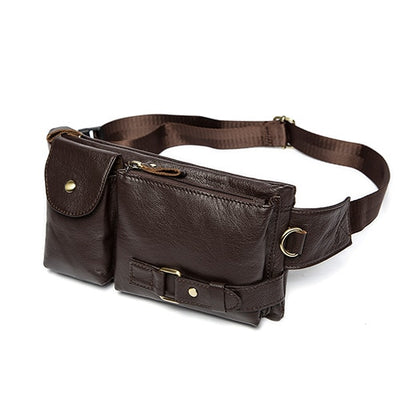 Genuine Leather Waist Packs Fanny Pack Belt Bag Phone Pouch Bags Travel Waist Pack Male - Mirage Novelty World