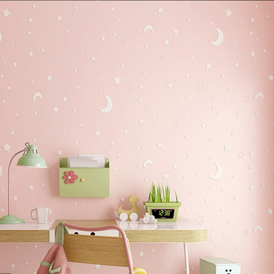 Glow Effect Night Sky Design Star And Moon Luminous Wallpaper Ceiling Decor Fluorescent Wall Paper - Mirage Novelty World