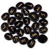 25pcs Natural Rune Stones Set Engraved Lettering Crystal Wiccan Pagan Black Obsidian Quartz Chakra Stone - Mirage Novelty World