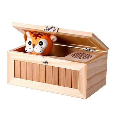Upgrade Wooden Electronic Useless Box with Sound Cute Tiger 10 Modes Funny Toy Gift Stress-Reduction Desk Decoration - Mirage Novelty World