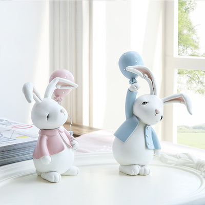 1 Pair Resin Doll Naughty Rabbits Cute Bunny Desk Accessory Toy Gift - Mirage Novelty World