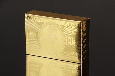 Golden Playing Card Deck Magic Trick 24K Gold Poker Plastic Playing Card Set Gold Foil $100 Franklin Logo Waterproof Cards - Mirage Novelty World