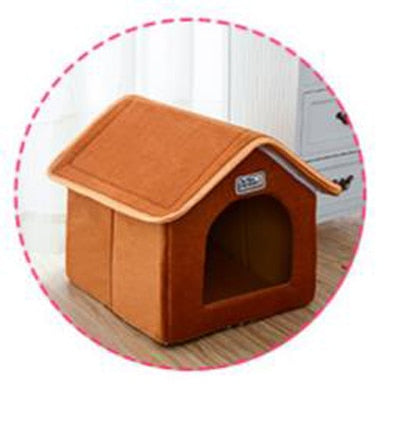 Pet House Foldable Leopard House Kennel Bed With Mat Soft Winter Bed For Small Medium Dogs Cat - Mirage Novelty World