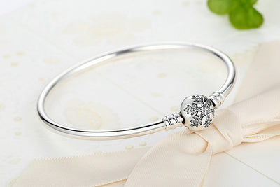 Authentic 925 Sterling Silver Engrave Snowflake Clasp Unique as you are Chain Bracelet & Bangle Fit DIY Jewelry - Mirage Novelty World