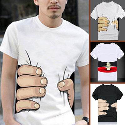 Funny 3D Life Hand or Bone Pattern Tops Visiual Illusion Style T shirt - Mirage Novelty World