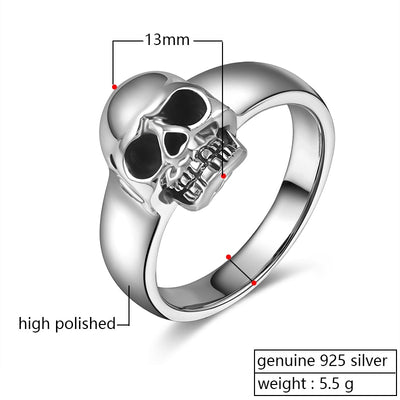 Real 925 Sterling Silver Punk Skull Ring Men Vintage Rings For Men Women Lovers Fashion Cool Jewelry - Mirage Novelty World