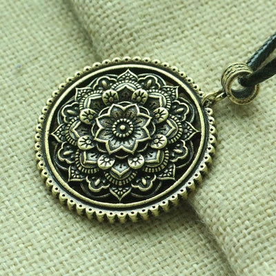 Boho Style Lotus Mandala pendant  Mandalas con flores women necklace geometry amulet pendant Tribal Gypsy Jewelry - Mirage Novelty World