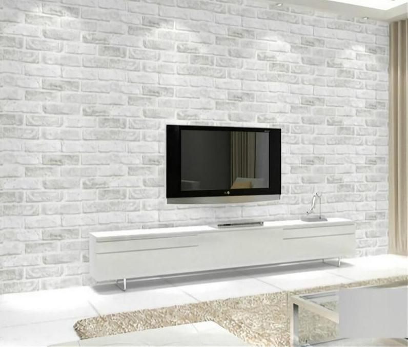 Rustic Grey White Brick Wallpaper Roll Bedroom Living room Wall Covering  Modern 3D Wall Paper