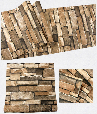 Rustic 3D effect Brick Wallpaper Roll For The Wall Stone Live Room Wall Paper - Mirage Novelty World