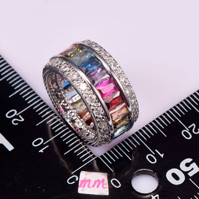 Sterling-Silver-Jewelry Multi Colour Crystal Zircon 925 Sterling Silver Jewelry Wholesale Retail Ring - Mirage Novelty World