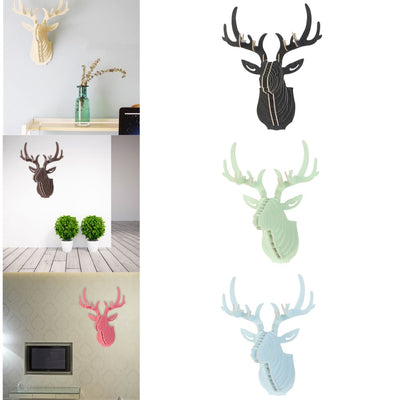 Excellent 3D Puzzle Wooden DIY Model Wall Hanging Deer Head Elk Wood Animal Wildlife Sculpture Figurines Gift Crafts Home Decor - Mirage Novelty World