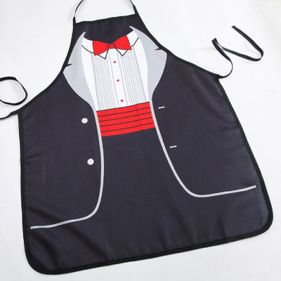 Suit Red Bow Print Sexy Apron - Mirage Novelty World