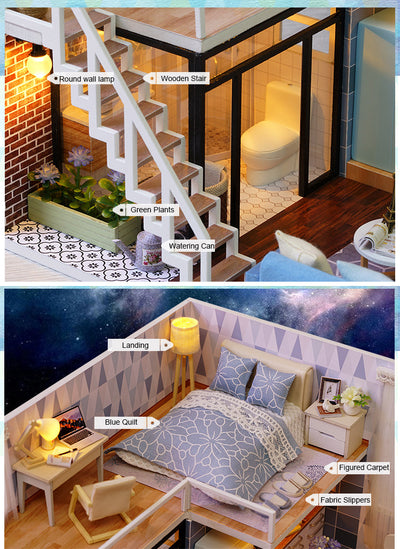 DIY Doll House Wooden Doll Houses Miniature Dollhouse Furniture Kit with LED Toys - Mirage Novelty World