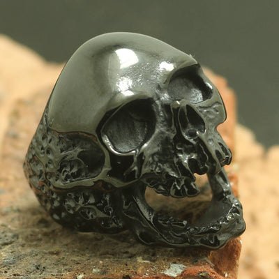Mens Boys 316L Stainless Steel Cool Black Zombie Skull Ring - Mirage Novelty World