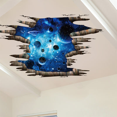 Ceiling Flooring Series Creative 3D Deep Blue Milky Way Planet Wall Stickers - Mirage Novelty World