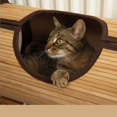Natural Bamboo Radiator Cat Bed Home Tent Cat Tunnel Toys Hanging Wall Cat House Habitat - Mirage Novelty World