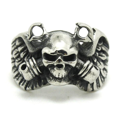 Mens Boy 316L Stainless Steel  Punk Gohtic Pirate Eagle Wing Skull Polishing Ring Newest - Mirage Novelty World