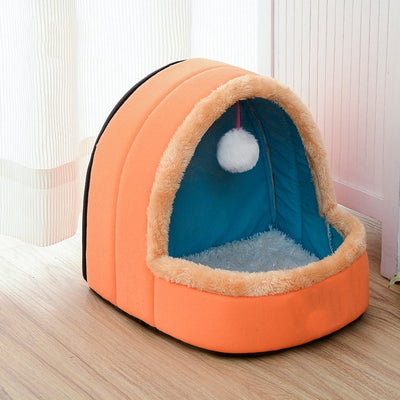 Pet Dog Cat Bed Foldable Puppy  House With Toy Ball  Soft Pet Cushion Kennel Cat Castle - Mirage Novelty World