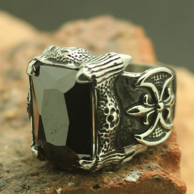 Mens Boys 316L Stainless Steel Cool Big Dragon Claw Stone Ring - Mirage Novelty World