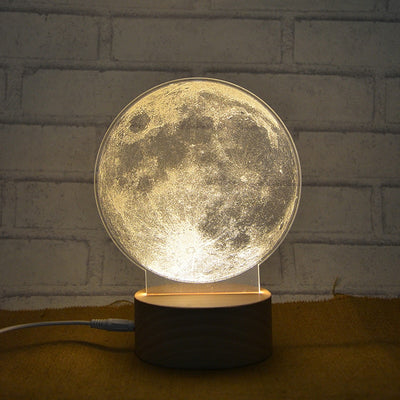 Creative 3D Acrylic Illusion Moon Light Lamp Atmosphere Warm White Led Lunar Night Lights - Mirage Novelty World