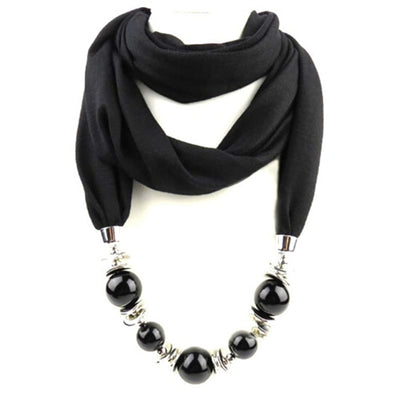 Fashion Ethnic Polyester Solid Collar Tassel Gorgeous beads pendants jewelry Necklace Jewelry Scarf Women Shawl Scarves Hot - Mirage Novelty World