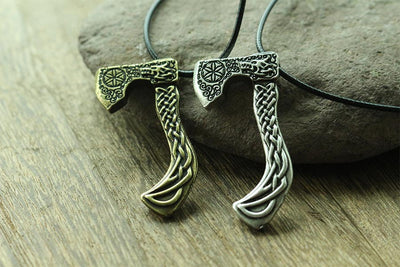 viking wolf axe necklace men pendant Nordic pagan jewelry - Mirage Novelty World