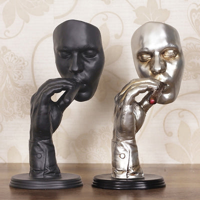 Large Size Man Smoking Cigar Creative Face Statue Meditators Abstract Sculpture - Mirage Novelty World