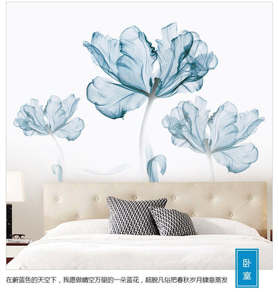 110*180 cm Large 3D Blue Flower Living Room Decoration Vinyl Wall Stickers - Mirage Novelty World