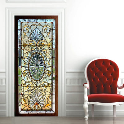 3D Stained Glass with Bevels Door Sticker for Bedroom Living Room gift art 77*200cm - Mirage Novelty World