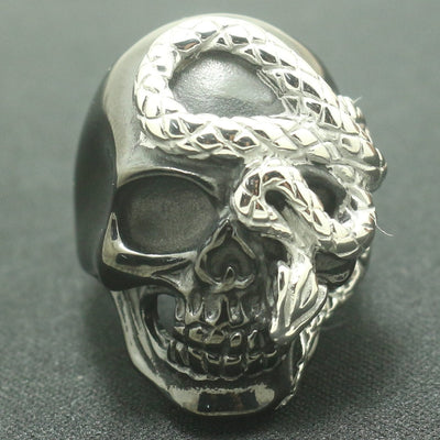 Unisex Size 7 to Size 16 316L Stainless Steel Cool Black Skull Cool Snake Newest Ring - Mirage Novelty World